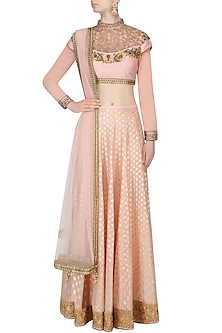 Pink Floral Embroidered And Banarsi Bootas Applique Lehenga Set by JJ Valaya