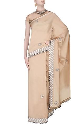 Golden Mukesh Work Boota Applique Saree With Jewel Neck Blouse by JJ Valaya