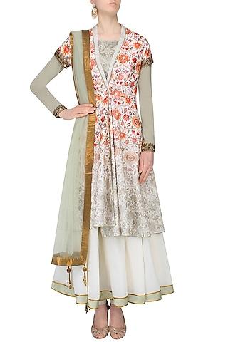 Green And White Kalidaar Anarkali Set With Floral Printed Overlap Jacket by JJ Valaya