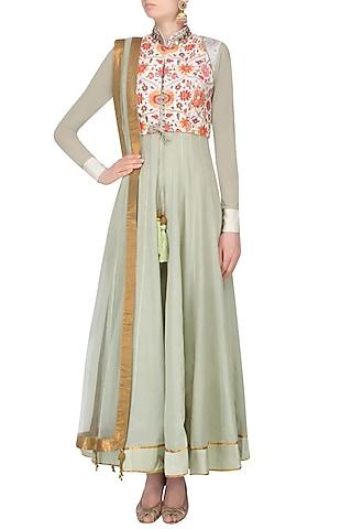 Green Floral Printed Anarkali Set With Floral Printed And Mukesh Work Jacket by JJ Valaya