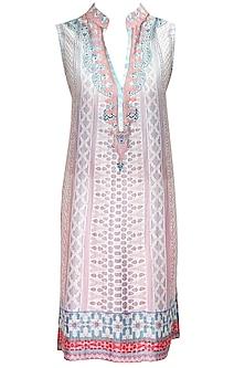 Blue and dusky rose digitally printed mandarin collar tunic by JJ Valaya