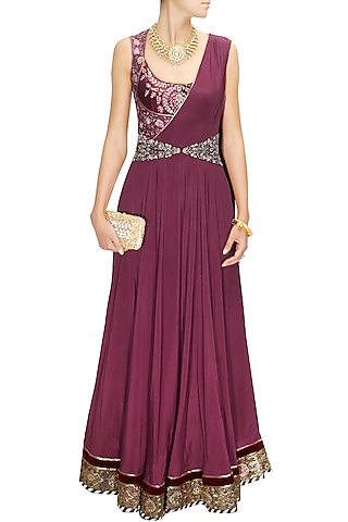 Maroon embroidered drape gown  by JJ Valaya
