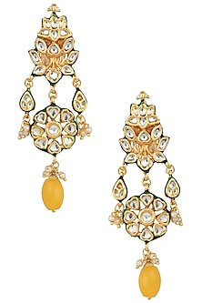 Gold Plated Yellow Stone Earrings by Just Jewellery