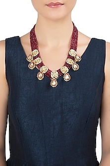 Gold Plated Red Beads Necklace by Just Jewellery