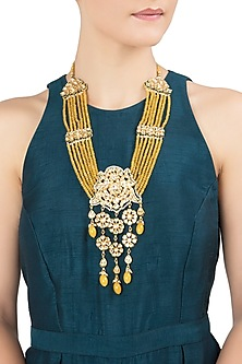 Gold Plated Yellow Beads Necklace by Just Jewellery