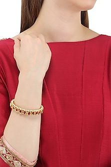 Gold Plated Red Stones Bangle by Just Jewellery