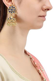 Gold Plated Blue Jadtar Jhumki Earrings by Just Jewellery