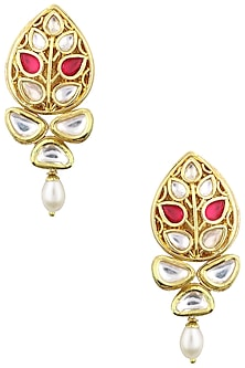 Gold Plated Leaf Motif Jadtar Earrings by Just Jewellery