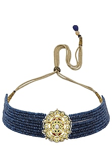 Gold Plated Jadtar and Blue Stone Necklace by Just Jewellery