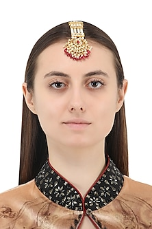 Gold Plated Red Thewa Crescent Shaped Maangtika by Just Jewellery