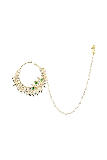Gold Plated Jadtar and Green Stone Nosering by Just Jewellery