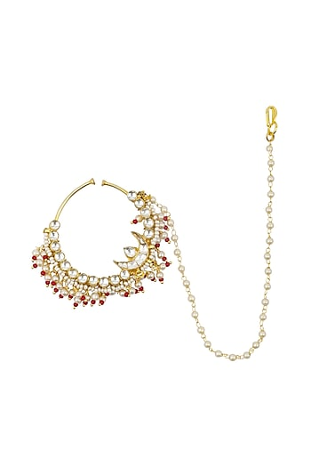 Gold Plated Jadtar and Red Beads Nosering by Just Jewellery