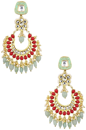 Gold Plated Jadtar and Stones Chandbali Earrings by Just Jewellery