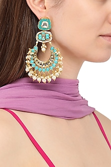 Gold Plated Turquoise Jadtar and Stone Chandbali Earrings by Just Jewellery