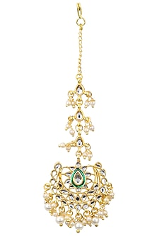 Gold Plated Jadtar and Pearl Maangtika by Just Jewellery