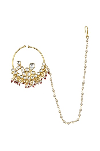 Gold Plated Jadtar Nosering by Just Jewellery