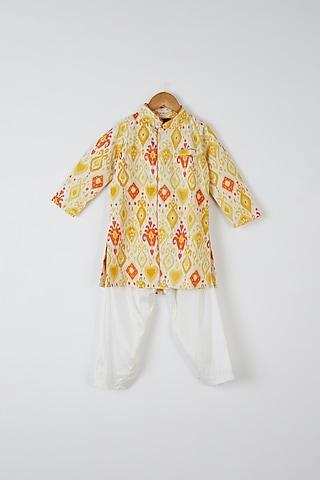 Yellow & Orange Printed Kurta Set by Yuvrani Jaipur Kidswear