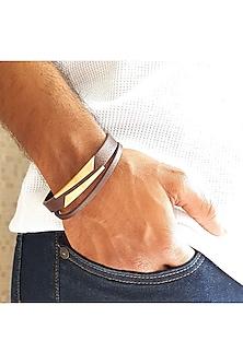 Rose Gold Finish Striped Bracelet Rakhi by JewelitbySZ