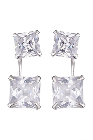 White Finish Detachable Earrings With Cubic Zirconia by JewelitbySZ