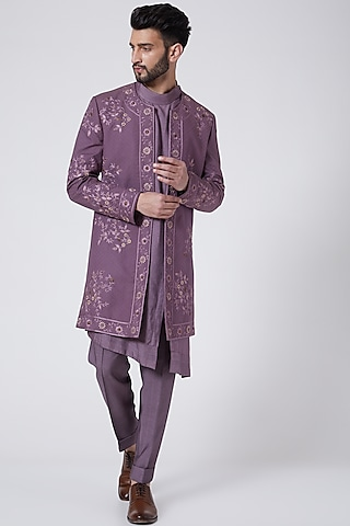 English Purple Embroidered Contemporary Jacket Set by Jatin Malik Couture