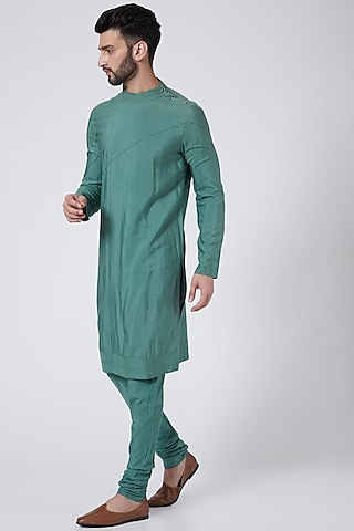 Sage Green Asymmetrical Kurta Set by Jatin Malik Couture