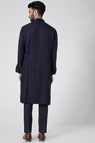 Midnight Blue Kurta Set by Jatin Malik Couture