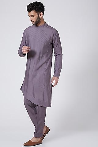 English Purple Kurta Set by Jatin Malik Couture