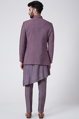 English Purple Bandhgala Jacket Set by Jatin Malik Couture