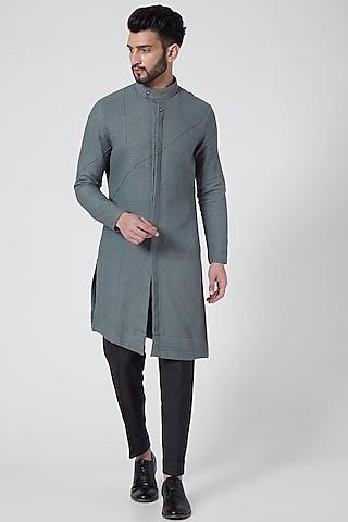 Grey & Black Kurta Set by Jatin Malik Couture