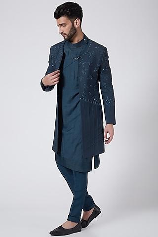 Teal Blue Jacket Set by Jatin Malik Couture