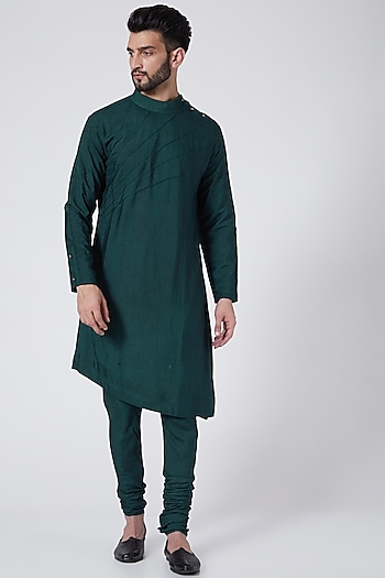 Forest Green Kurta Set by Jatin Malik Couture