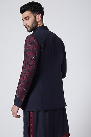 Midnight Blue Bandhgala Jacket Set by Jatin Malik Couture