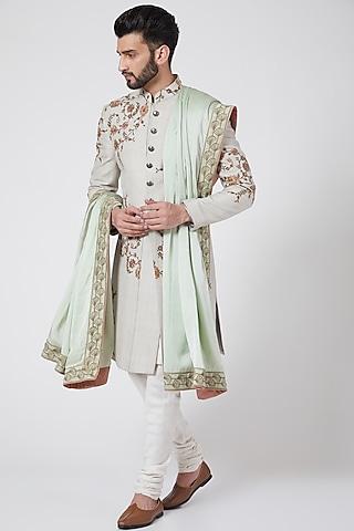 Ice Grey Textured & Embroidered Sherwani Set by Jatin Malik