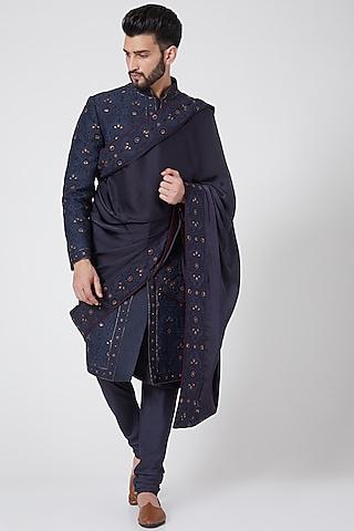 Midnight Blue Jamawar Embroidered Sherwani Set by Jatin Malik Couture