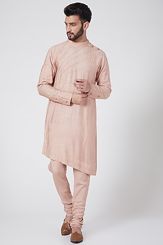 Old Rose Asymmetric Kurta Set by Jatin Malik