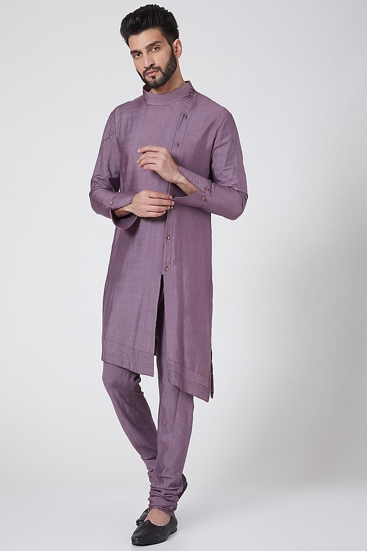 English Purple Asymmetric Kurta Set by Jatin Malik