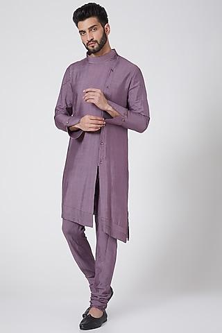 English Purple Asymmetric Kurta Set by Jatin Malik Couture
