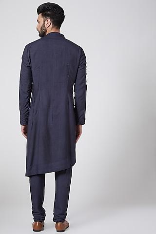 Midnight Blue Asymmetric Kurta Set by Jatin Malik Couture