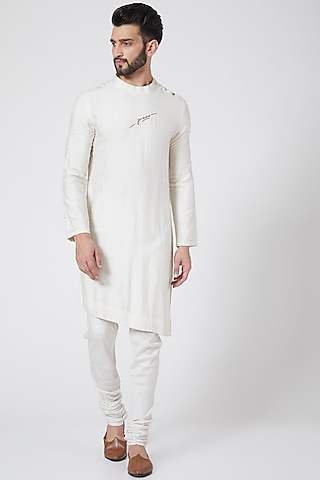 Ivory Asymmetric Kurta Set by Jatin Malik Couture