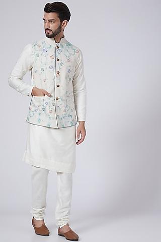 Ivory Textured Kurta Set With Nehru Jacket by Jatin Malik