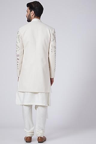 Ivory Hand Textured Kurta Set With Jacket by Jatin Malik