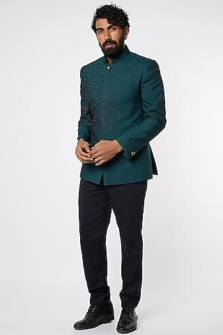 Emerald Green Embroidered Bandhgala Jacket Set by Jatin Malik