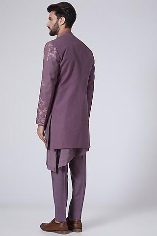 English Purple Embroidered Jacket Set by Jatin Malik
