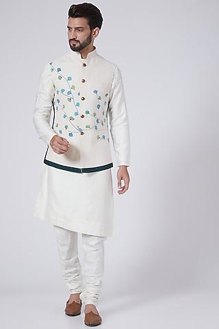 Ivory Hand Painted Kurta Set With Nehru Jacket by Jatin Malik