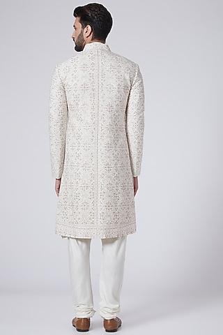 Ivory Resham Embroidered Sherwani Set by Jatin Malik