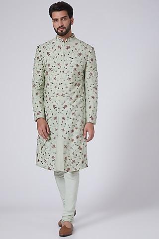Duck Egg Blue Resham Embroidered Sherwani Set by Jatin Malik