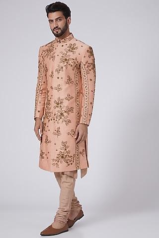 Old Rose 3D Brass Embroidered Sherwani Set by Jatin Malik