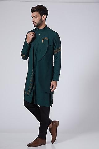 Teal Green Kurta Set With Shrug by Jatin Malik