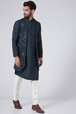 Midnight Blue Hand Embroidered Kurta Set With Shrug by Jatin Malik