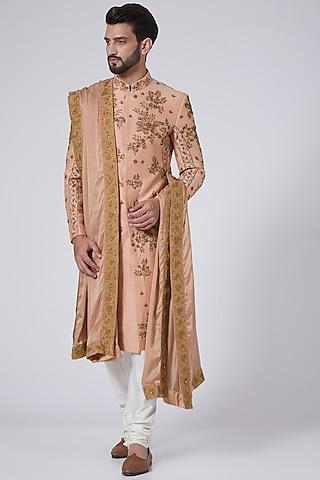 Old Rose Resham Embroidered Sherwani Set by Jatin Malik